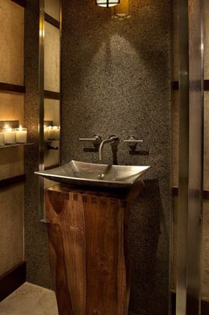 Contemporary Powder Room with wall-mounted above mirror bathroom light, stone tile floors, Simple Granite, Vessel sink, Paint