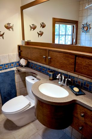 Cottage Full Bathroom with Wall mounted sink, Pental Quartz - Creekside, High ceiling, European Cabinets, Flush