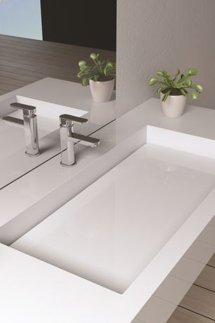 Contemporary Master Bathroom with Rectangular white ceramic wall mounted or built-in sink, Concrete