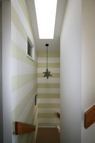 Modern Staircase with flush light, Carpet, interior wallpaper, Skylight