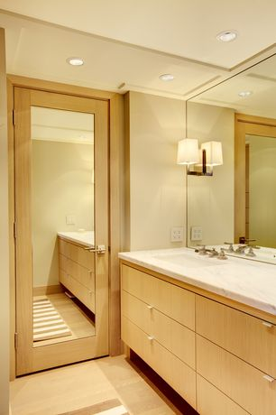 Contemporary Full Bathroom with Flush, European Cabinets, Undermount sink, Complex marble counters, Standard height