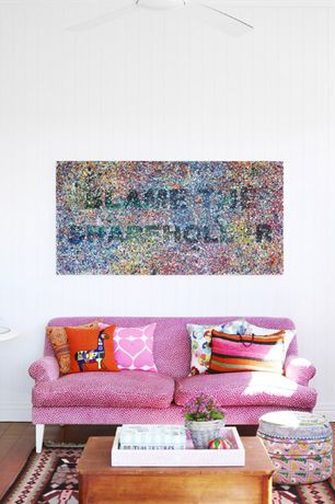 Eclectic Living Room with Hardwood floors, Dot Spot / Multi-Colored Circle Pattern Acrylic Fine Art Artist Painting