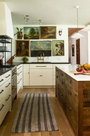 Eclectic Kitchen with Flush, gas range, Barber wilsons bridgemaster kitchen faucet, Painted cabinet, Custom hood, L-shaped