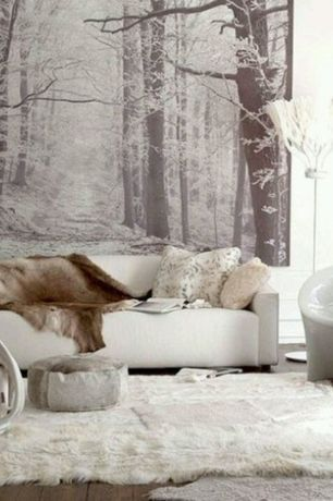 Contemporary Living Room with Restoration Hardware Luxe Faux Fur Throw, interior wallpaper, Hardwood floors