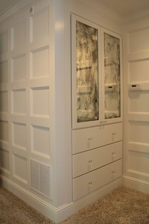 Contemporary Closet with Carpet, Built-in bookshelf, Standard height, Wainscotting, Crown molding