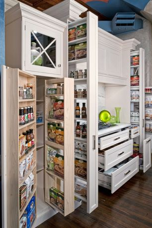 Traditional Pantry with interior wallpaper, High ceiling, flush light, Crown molding, Laminate floors, Pull out pantry
