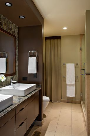 Contemporary Master Bathroom with Slate counters, European Cabinets, Master bathroom, Ceramic Tile, frameless showerdoor