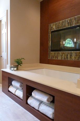 Contemporary Master Bathroom with Cardiff Cream Quartz Tub Surround, Master bathroom, Crown molding, Vinyl floors