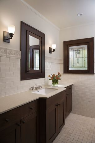 Craftsman Full Bathroom with Crown molding, Wall sconce, Simple granite counters, Undermount sink, Flush, European Cabinets