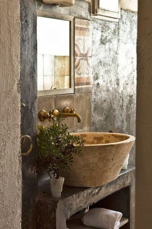 Rustic Powder Room with High ceiling, Powder room, Stone Tile, Slate counters, Eco Magnesium Ceramic Vessel Sink, Slate Tile