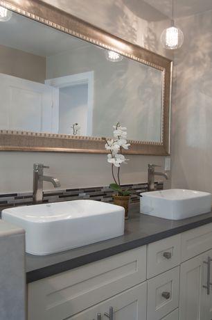 Contemporary Master Bathroom with specialty door, Flat panel cabinets, Master bathroom, Standard height, partial backsplash
