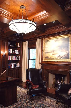 Traditional Home Office with Standard height, Hardwood floors, flush light, insert fireplace, Crown molding, can lights