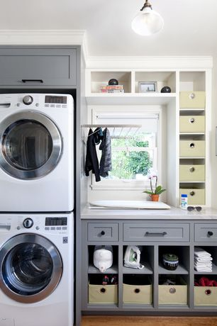 Transitional Laundry Room with LG Electronics 2.3 cu. ft. High-Efficiency Front Load Washer, Built-in bookshelf