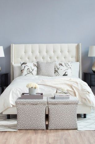 Eclectic Master Bedroom with Zgallerie: mykonos pillow, Hardwood floors, Custom Dale Upholstered Bed, Wide plank floors