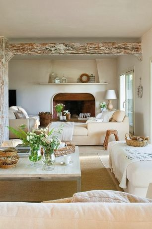 Traditional Great Room with West elm: box frame coffee table - mango wood, Carpet, Columns, Whitewashed exposed beam ceiling