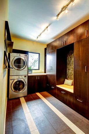 Contemporary Laundry Room with 4.0 c.u. ft. ultra large capacity steamwasher with coldwash., Built-in bookshelf