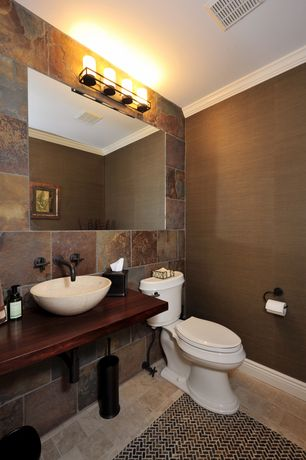 Craftsman Powder Room with travertine tile floors, Wood counters, Fontaine mini round porcelain vessel sink, Vessel sink