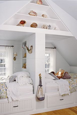 Cottage Kids Bedroom with Wall sconce, Built-in bookshelf, Pine Cone Hill Savannah Linen White Gauze Window Panel, Bunk beds