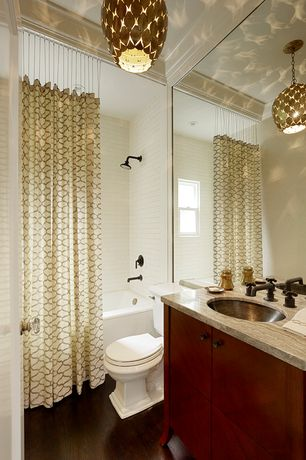 Contemporary Full Bathroom with drop in bathtub, Flush, double-hung window, tiled wall showerbath, Crown molding, Full Bath
