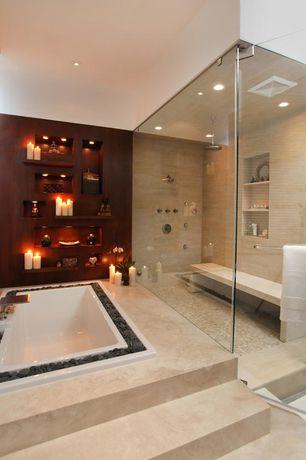 Traditional Master Bathroom with Soaking, Master bathroom, Andrea 21 Soaking Tub, frameless showerdoor, Rain shower