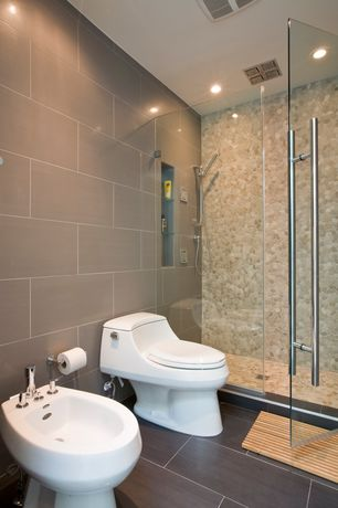 Contemporary Master Bathroom with Daltile creamy sand river pebble mosaic saw cut da06, Frameless shower door, Rain shower
