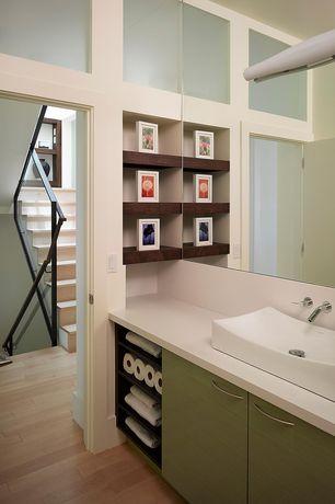 Contemporary 3/4 Bathroom with Paint 2, Standard height, Vessel sink, wall-mounted above mirror bathroom light, flat door