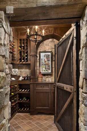 "Rustic Wine Cellar with Foucault's orb chandelier 13"" - rustic iron, Exposed beam, Crown molding, Barn door, Chandelier"
