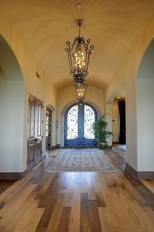 Mediterranean Entryway with Chandelier, Jaipur rugs fables blue area rug, Hardwood floors, Arched entry, Arched french doors