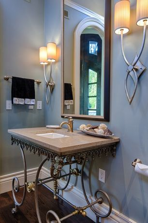 Traditional Powder Room with Crown molding, Hardwood floors, Pentalquartz - oyster bq700, Wall sconce, Console sink