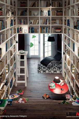 Contemporary Library with Heavy Duty Bookcase with Reinforced Shelves - White, Hardwood floors, High ceiling, Pendant light