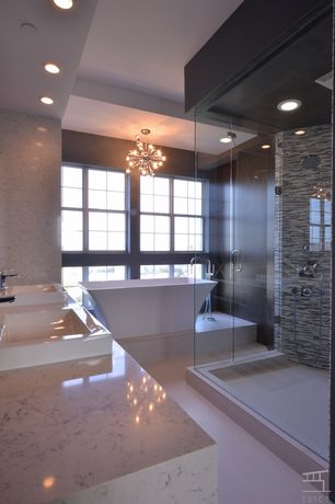 Contemporary Master Bathroom with Double sink, Complex Marble Tile, Handheld showerhead, Freestanding, Dual shower heads