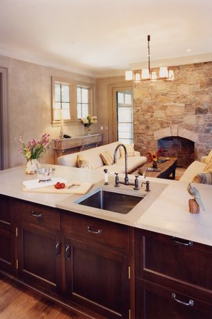 "Traditional Kitchen with Atlas Homewares Distressed 3.8"" Bar Pull, Dura Supreme Cabinetry Hanover Panel, One-wall"