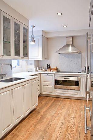 Traditional Kitchen with Landmark Lighting Chadwick 1 Light Pendant, L-shaped, Undermount sink, Raised panel, Pendant light