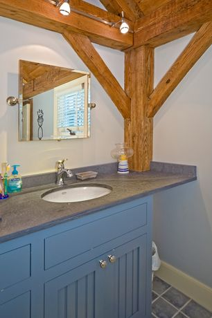 Cottage Full Bathroom with Concrete Bathroom Countertops, Afina Radiance Gear Tilt Mirror, concert