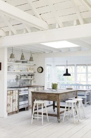 Cottage Kitchen with European Cabinets, Exposed beam, Whitewashed exposed beam ceiling, Flush, Skylight, Undermount sink