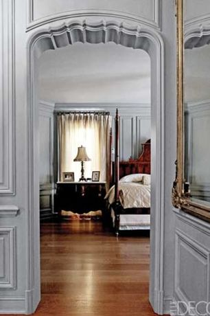 Traditional Master Bedroom with Standard height, Hardwood floors, Wainscotting, Crown molding