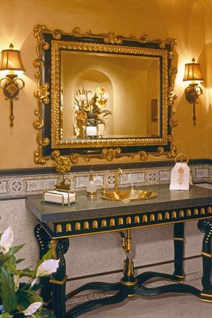 Traditional Powder Room with Powder room, Wall sconce, Ceramic Tile, Ann Sacks Capella Stacked Marble Mosaic, Quartz counters
