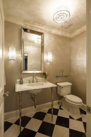 Traditional Powder Room with Standard height, Complex marble counters, Complex Marble, Undermount sink, Crown molding
