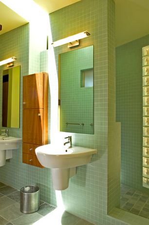 Modern Master Bathroom with Wall mounted sink, Cinca, NOVA ARQUITECTURA  Glazed Ceramic Tile, Flush, Stained glass window