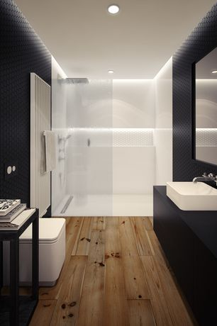 Contemporary 3/4 Bathroom with frameless showerdoor, Vessel sink, Standard height, Hardwood floors, Handheld showerhead