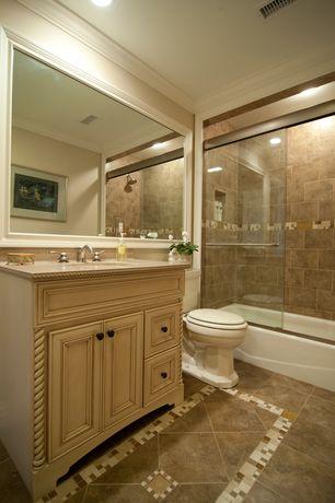 Traditional Full Bathroom with Daltile circuit mosaic backsplash tile, Limestone counters, Flush, Flat panel cabinets