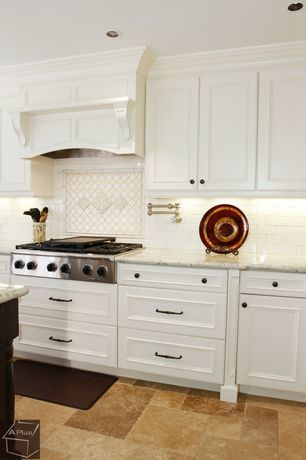 Traditional Kitchen with Merola tile metro subway glossy white 11-3/4 in. x 11-3/4 in. x 5 mm porcelain mosaic floor and wall
