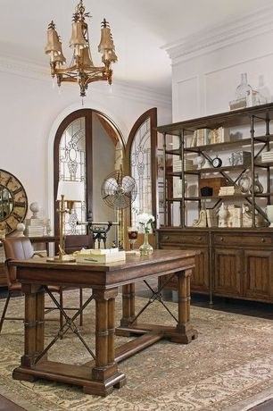 Traditional Home Office with Hardwood floors, Crown molding, Glass panel door, Chandelier