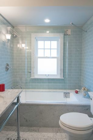 "Traditional Full Bathroom with Rain shower, Palmer industries 1 1/2"" bun foot style 2 leg console - ls2b, Wall sconce"