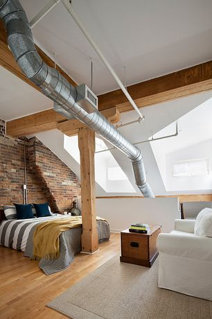 Contemporary Master Bedroom with Exposed beam, picture window, Mod Stripe Duvet Cover, MALDIVES TRUNK, Columns, Paint 1