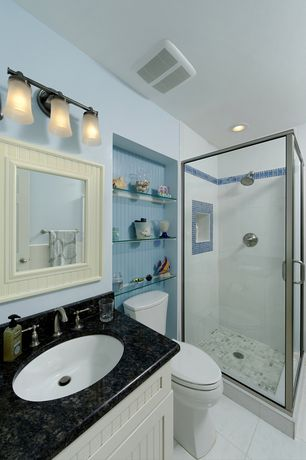 Cottage 3/4 Bathroom with Simple Granite, Undermount sink, Flat panel cabinets, Bed Bath & Beyond Wainscot Mirror In White