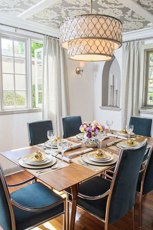 Contemporary Dining Room with Flocked Wallpaper Katie Damask White on Silver Print-7034, Hardwood floors, flush light