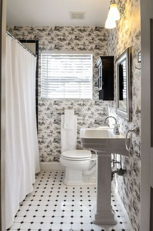 Traditional Powder Room with interior wallpaper, ceramic tile floors, Powder room, Flush, curtain showerdoor, Shower