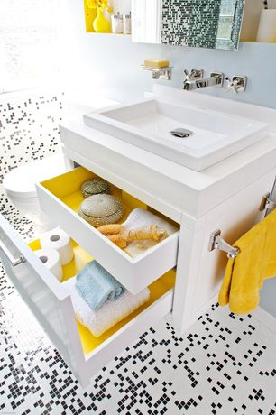 Contemporary Full Bathroom with Mosaic tile, Painted inside of cabinets, Wall mounted soap dish, Paint 2, Vessel sink, Paint