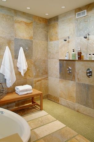 Contemporary Master Bathroom with stone tile floors, can lights, Bathtub, Shower, three quarter bath, penny tile floors